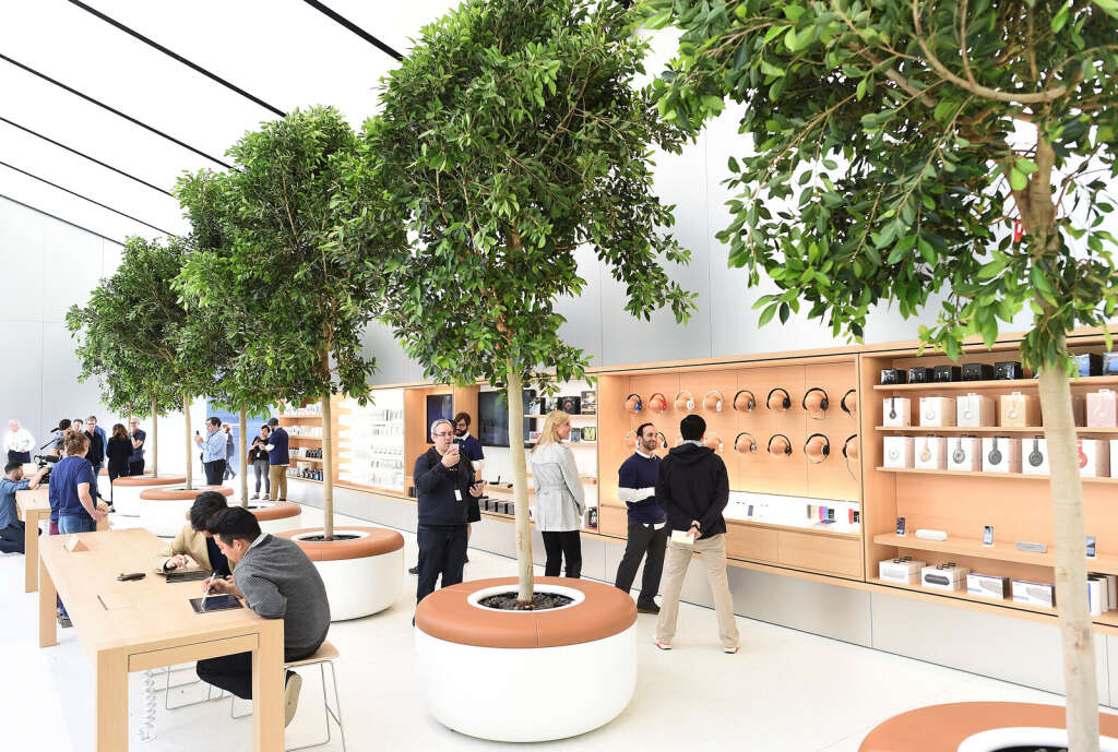 Apple's new store features fresh design elements as well as community programmes including the 'genius grove' where customers can get support under a canopy of local trees and 'the plaza' a public space that will be open 24 hour a day.