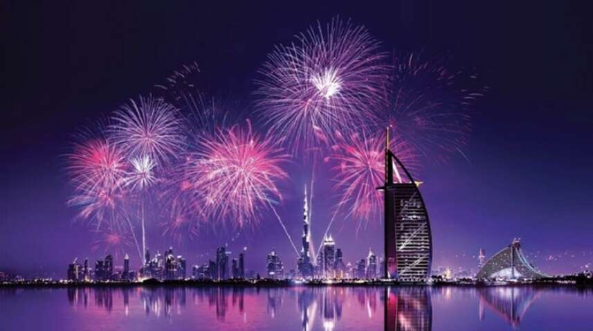 new year fireworks, RTA, abra, Burj Khalifa, Burj Al Arab, New Year 2020, happy new year