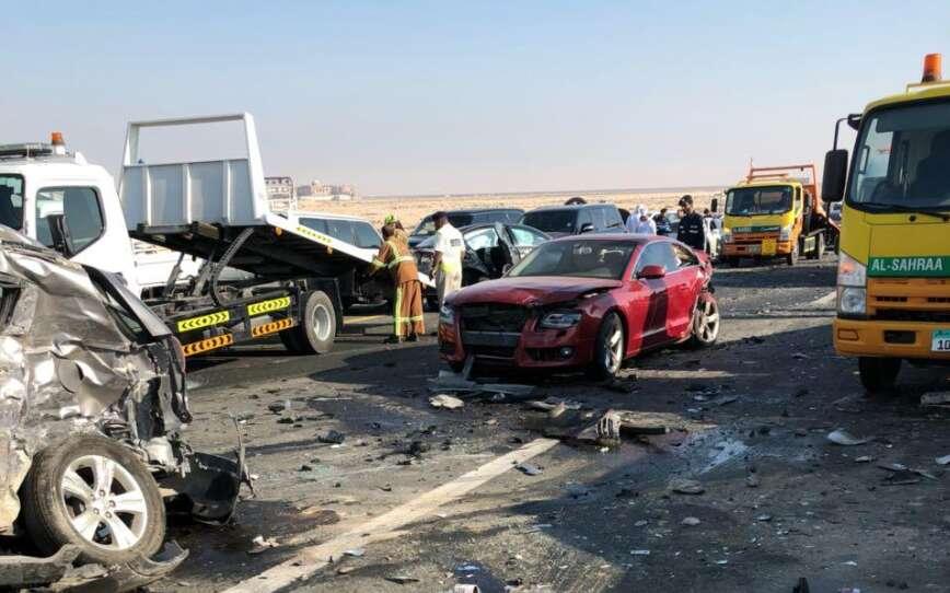 22 Injured In 44 Vehicle Crash In Abu Dhabi Khaleej Times