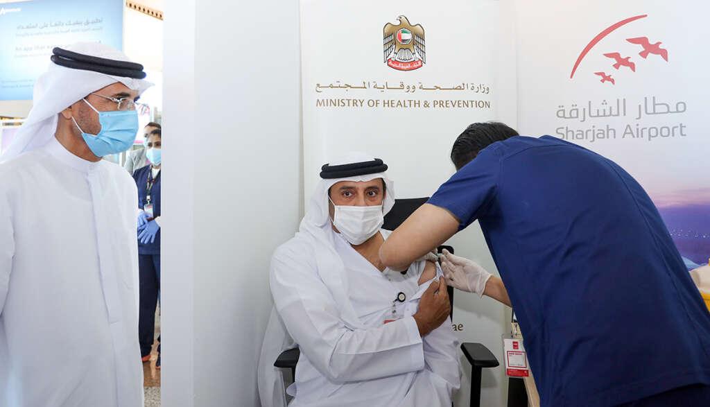 sharjah airport, covid-19 vaccine, coronavirus, first dose of vaccine, frontline workers