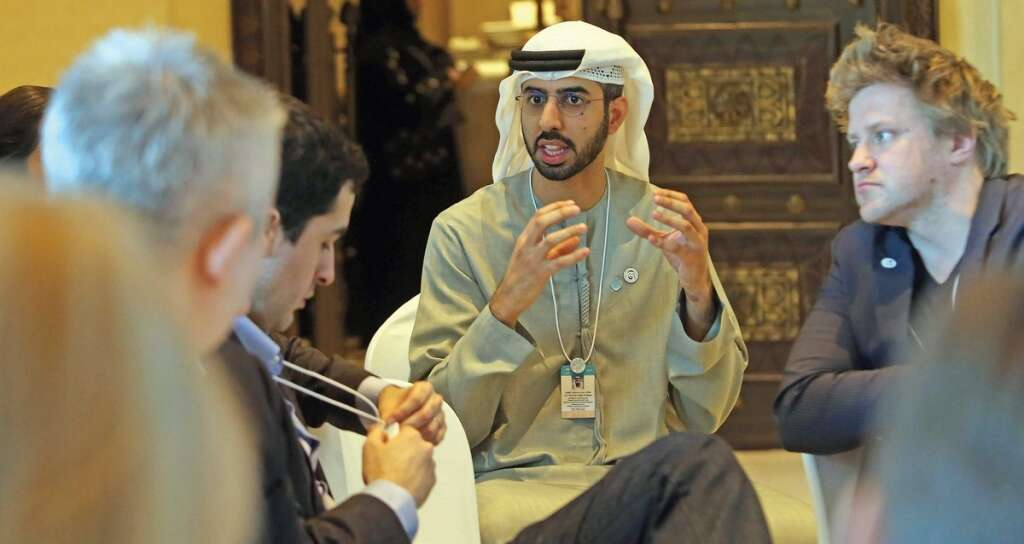 Omar bin Sultan Al Olama during the Global Artificial Intelligence Governance workshop,  an event held ahead of the World Government Summit in Dubai on Saturday. The three-day summit begins today. — Photo by Dhes Handumon
