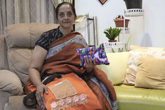 ALL FOR GOOD: Shambavi with some of the products crafted by her non-profit community initiative Save Scrap & Sew