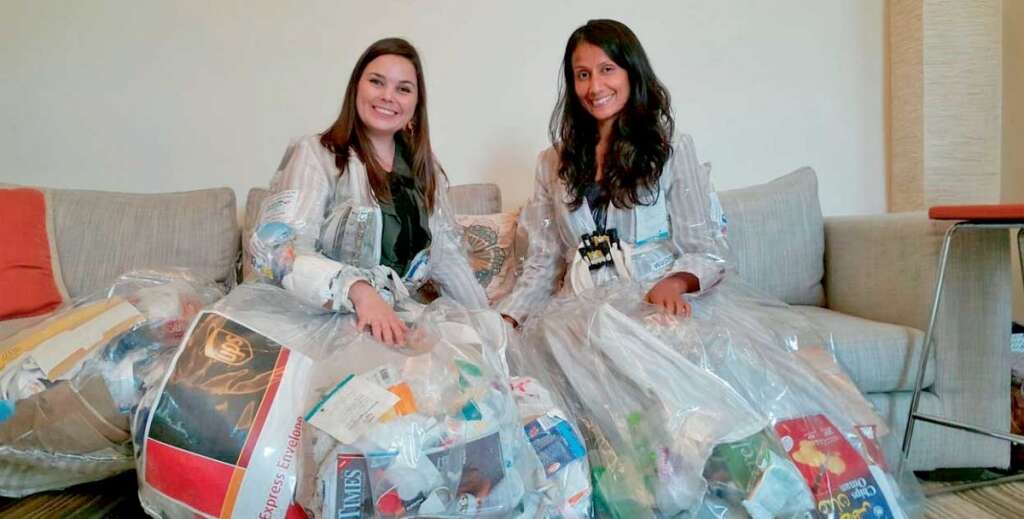 Mariska Nell and Marita Peters carried around the trash they generated each day in 'waste suits'.