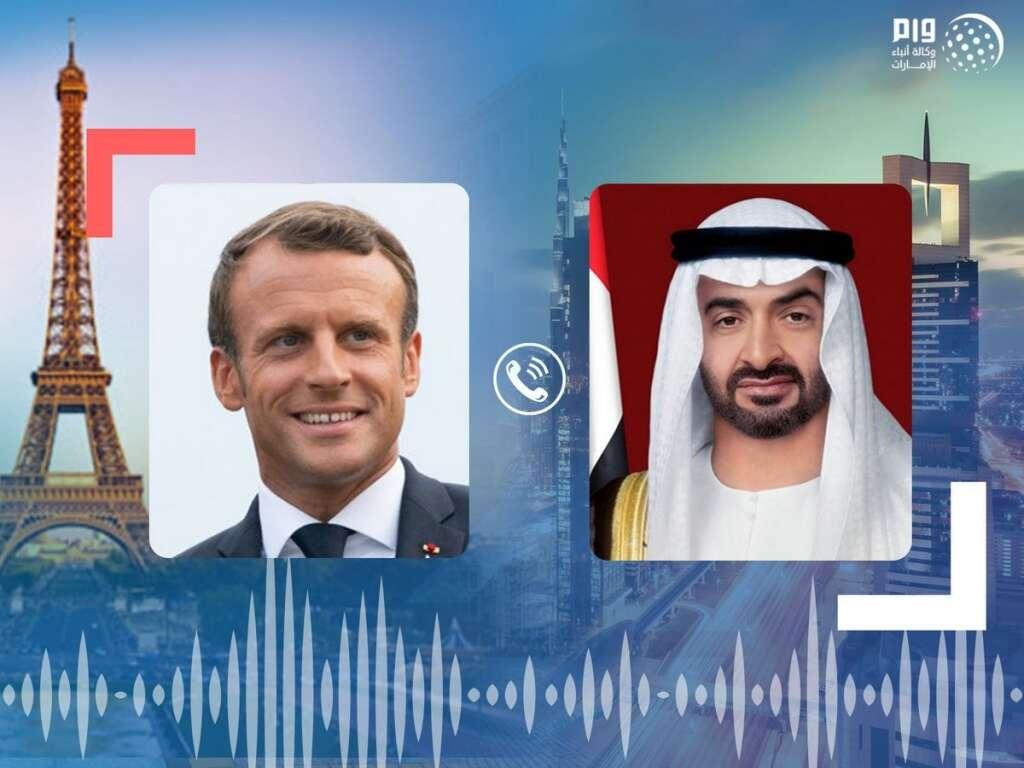 Sheikh Mohamed, Abu Dhabi, Emmanuel Macron, France, phone call, bilateral, relations, regional, developments