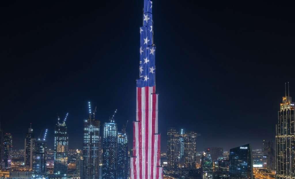 Burj Khalifa, lights up, celebrate, US Independence Day,