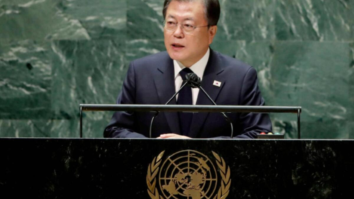 South Korea's President Moon Jae-in addresses the 76th session of the United Nations General Assembly. — AP