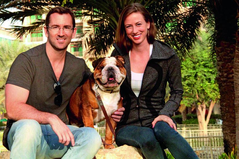 FUR FAMILY: Robert Kelly and Katherine Cebrowski with their English bulldog, Maximus