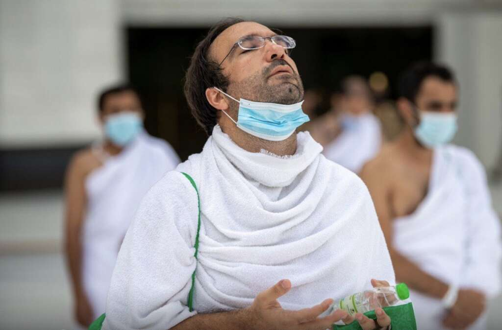 Masked, pilgrims, Haj 2020, scaled, Saudi Arabia's Mount Arafat, coronavirus, Covid-19
