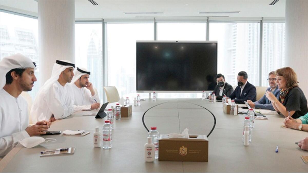 Dr Thani bin Ahmed Al Zeyoudi with Mexican delegates. — Wam