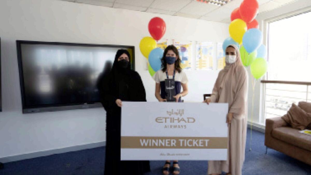 Rebecca Vasconcelos receives her prizes at Abu Dhabi International Private School. — Supplied photo