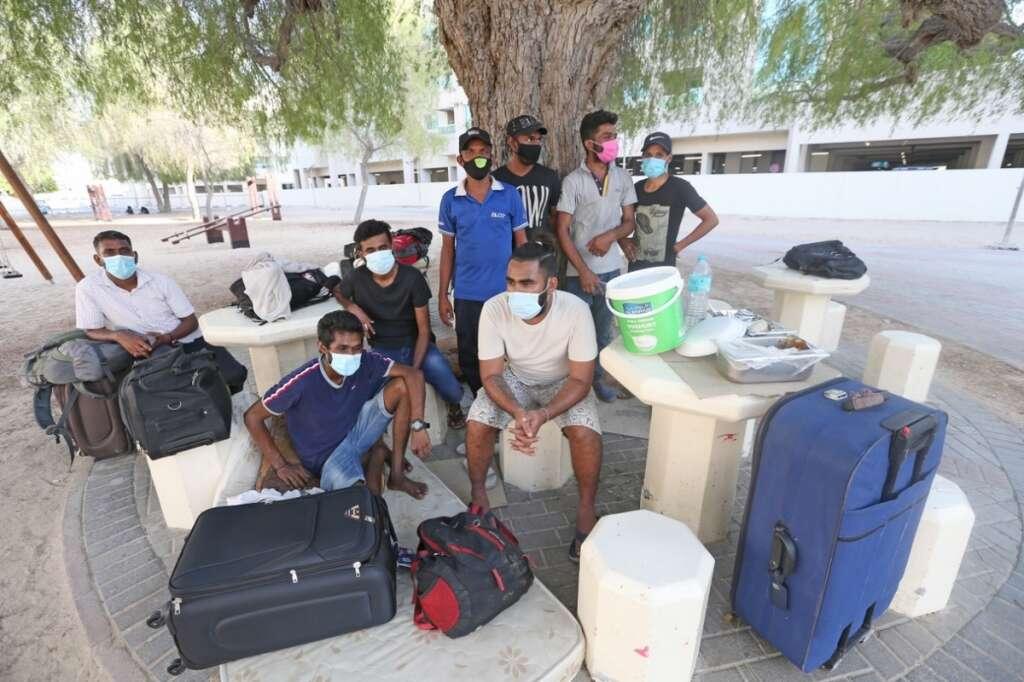 Photos, Sri Lankan, jobseekers, living, Dubai park, shelters
