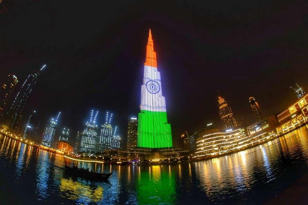 Indian flag displayed on Dubais Burj Khalifa