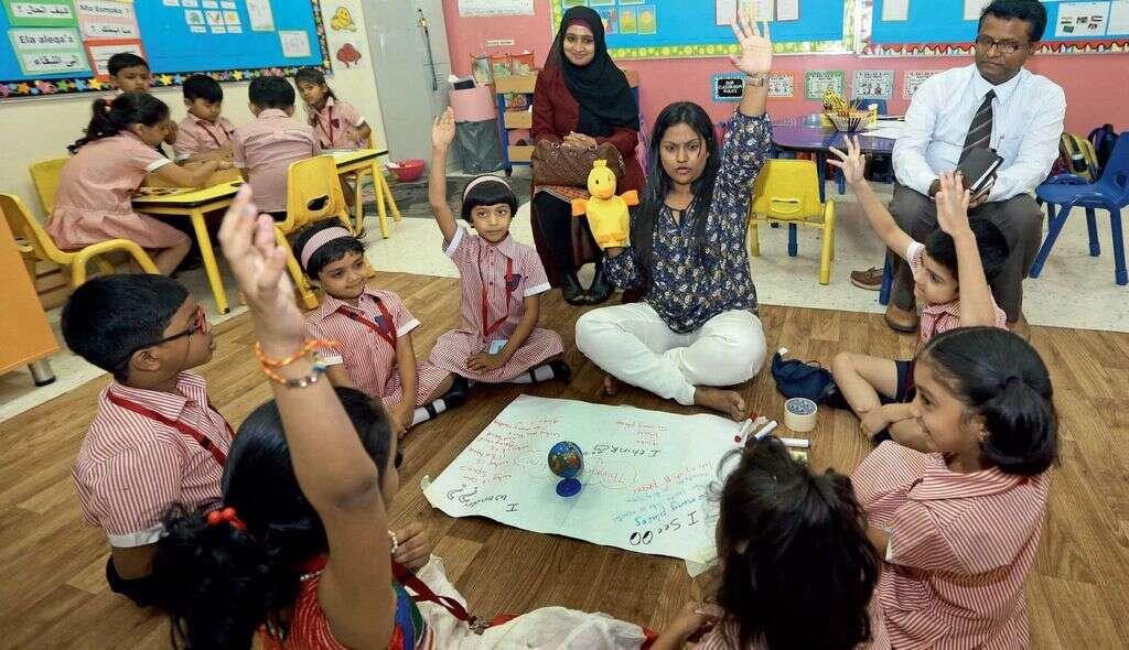 Parents being part of a classroom under the Open Doors programme at the Gems Kindergarten Starters, Dubai.
