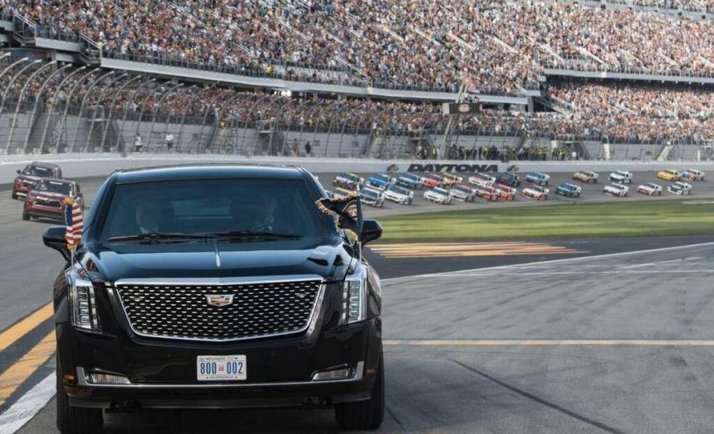 Daytona 500 auto race, NASCAR, Trump, limousine