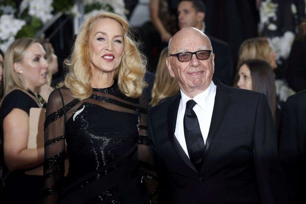 Model Jerry Hall and media magnate Rupert Murdoch at the 73rd Golden Globe Awards in Beverly Hills, California