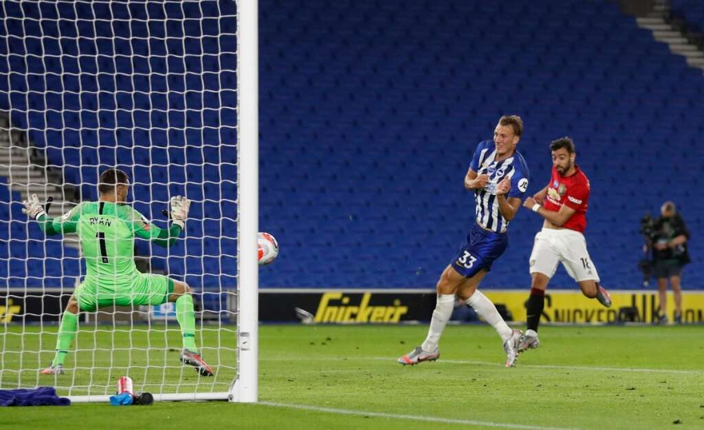 Bruno Fernandes, Manchester United, double, 3-0, win, Brighton, Amex Stadium, Premier League, Ole Gunnar Solksjaer