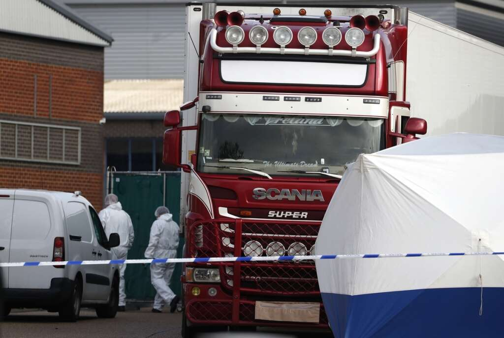 Truck container, UK, Belgium, 39 bodies