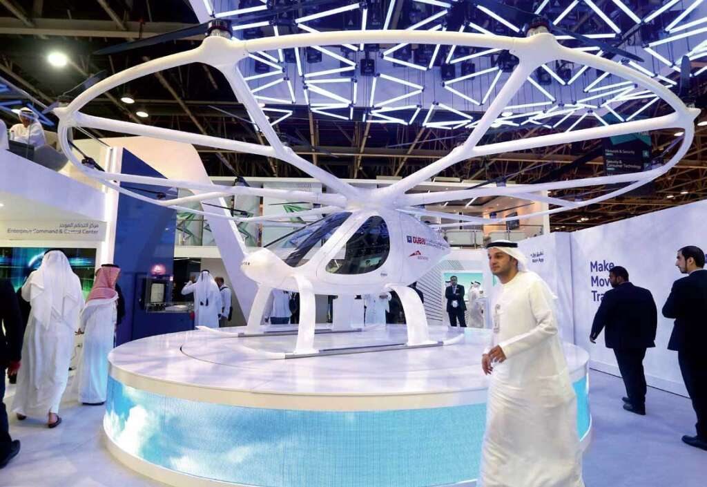 Autonomous Air Taxi on display during the 37th Gitex Technology Week at the Dubai World Trade Centre on Sunday.