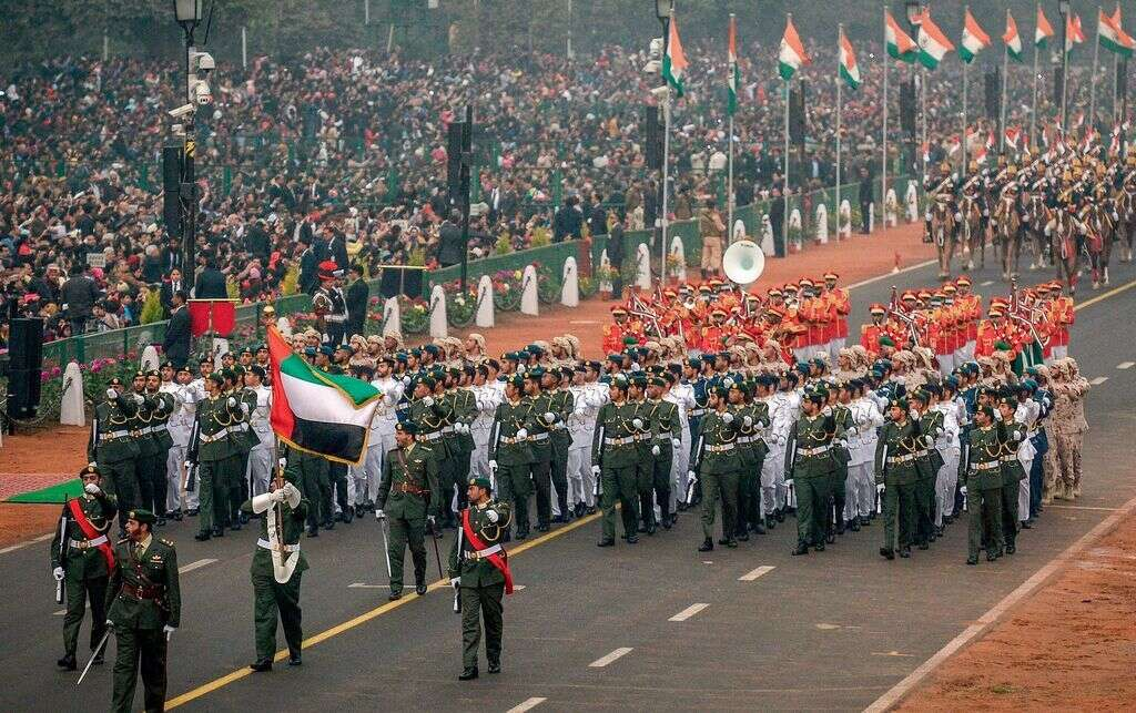 A 179-strong contingent of the UAE Armed Forces marches during India's 68th Republic Day parade in New Delhi on Thursday morning. They led the march behind the parade commanders.