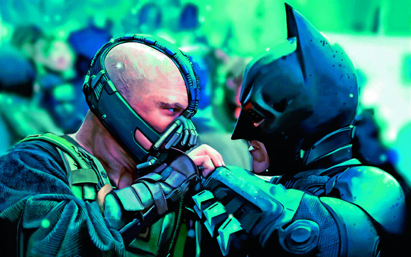 Christian Bale (right) reprises his role as Batman, opposite Tom Hardy, who stars as the villain Bane