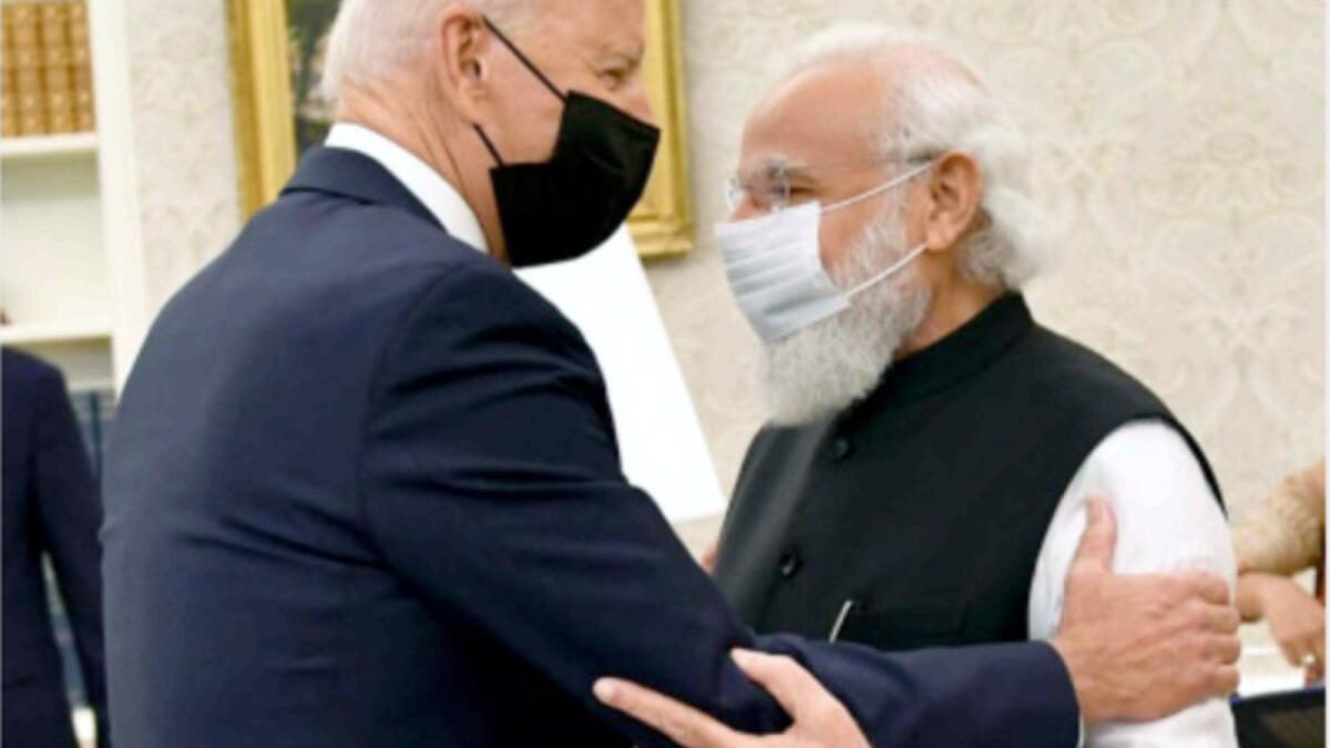 Joe Biden receives Narendra Modi in the Oval Office of the White House. — ANI