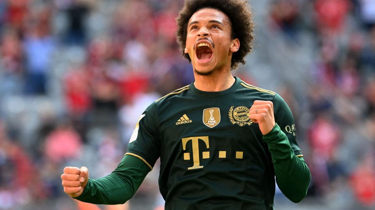 Bayern Munich's midfielder Leroy Sane celebrates his goal against Bochum during the German first division Bundesliga match. — AFP