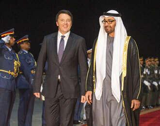 Gen. Shaikh Mohammed receives Italian Prime Minister Matteo Renzi