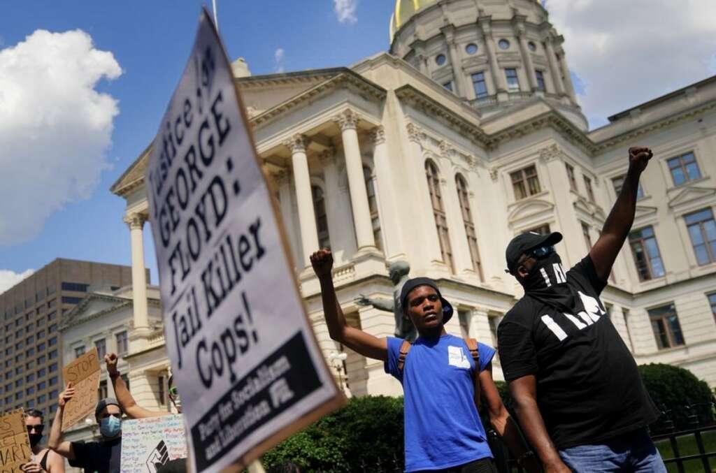 Police, black man, US, protest